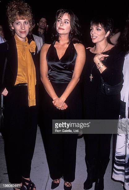 Actress Ellen Greene actress Polly Walker and actress/singer Liza Minnelli attend the Enchanted April New York City Premiere on July 27 1992 at the...