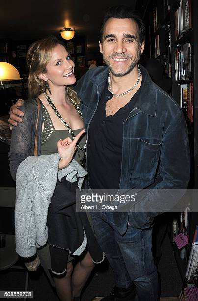 Actress Ellen Hollman and actor Adrian Paul at Victoria Pratt's Book Signing For 'Double Down' held at Book Soup on February 4 2016 in West Hollywood...