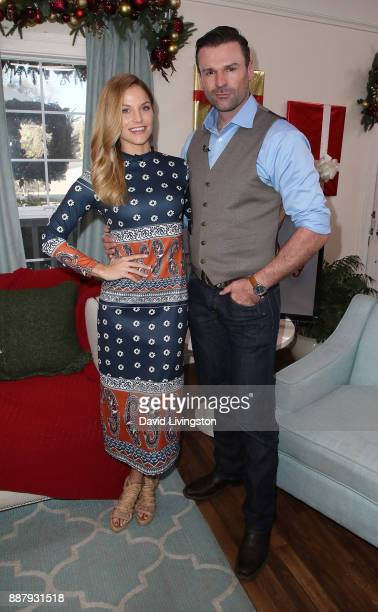 "Actress Ellen Hollman and husband stunt performer Stephen Dunlevy visit Hallmark's ""Home & Family"" at Universal Studios Hollywood on December 7, 2017..."
