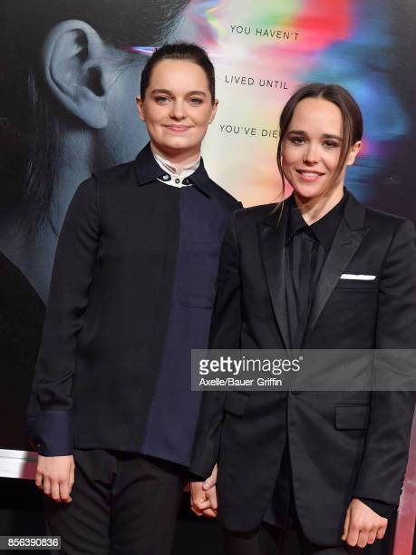 Actress Ellen Page and Emma Portner arrive at the premiere of 'Flatliners' at The Theatre at Ace Hotel on September 27 2017 in Los Angeles California