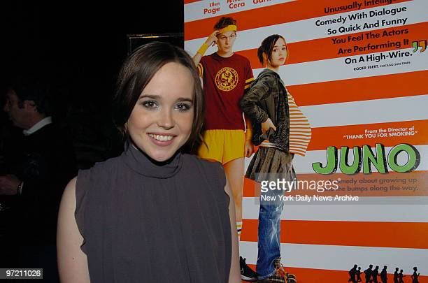 Actress Ellen Page arrives at the Four Seasons Restaurant in Manhattan on Friday for a private screening of her new movie Juno