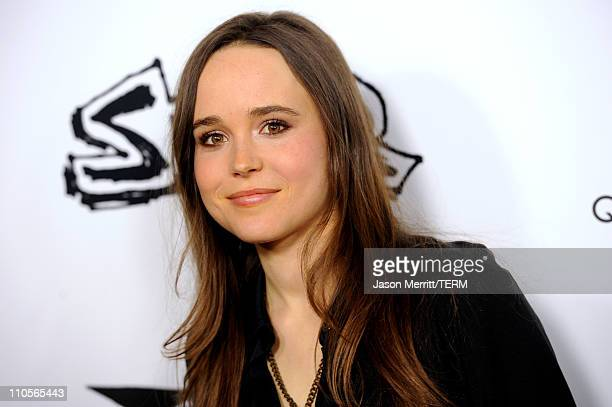 "Actress Ellen Page arrives at the premiere of IFC Midnight's ""Super"" at the Egyptian Theatre on March 21, 2011 in Hollywood, California."
