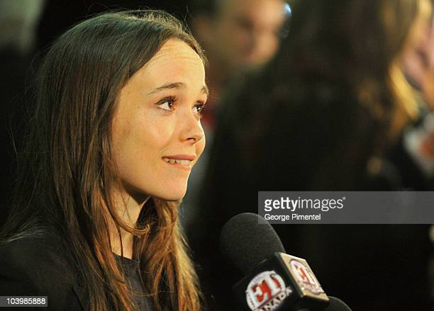 Actress Ellen Page arrives Super Premiere held at Ryerson Theatre during the 35th Toronto International Film Festival on September 10 2010 in Toronto...
