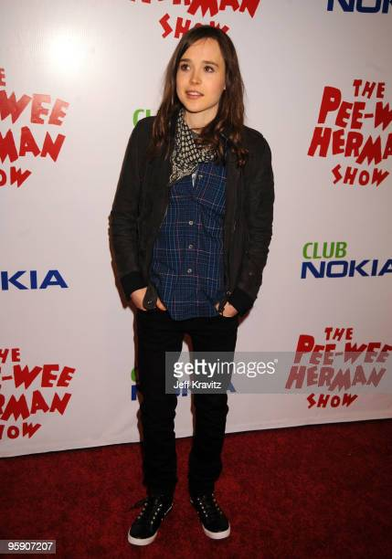 Actress Ellen Page arrives to the opening night of The Peewee Herman Show Los Angeles Opening Night at Club Nokia on January 20 2010 in Los Angeles...