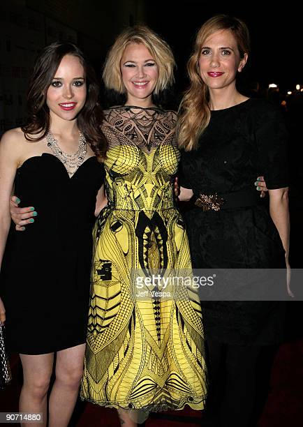 Actress Ellen Page director Drew Barrymore and actress Kristen Wiig attend theWhip It Premiere at the Ryerson Theatre during the 2009 Toronto...