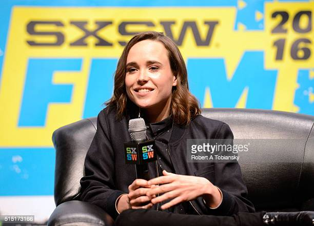 Actress Ellen Page speaks onstage at the Ellen Page Keynote during the 2016 SXSW Music Film Interactive Festival at Vimeo on March 12 2016 in Austin...