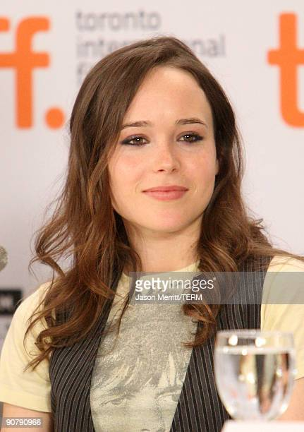 """Actress Ellen Page speaks onstage at the """"Whip It"""" press conference held at the Sutton Place Hotel on September 15, 2009 in Toronto, Canada."""