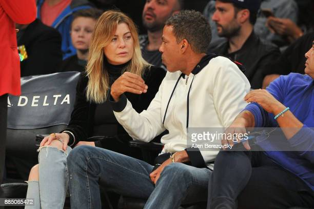 Actress Ellen Pompeo and Chris Ivery attend a basketball game between the Los Angeles Lakers and the Houston Rockets at Staples Center on December 3...