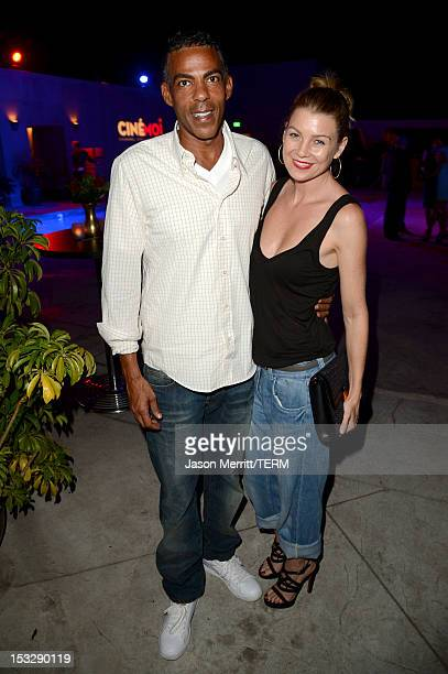 Actress Ellen Pompeo and Chris Ivery attend the Cinémoi North American Launch Party at L'Ermitage on October 2 2012 in Beverly Hills California...