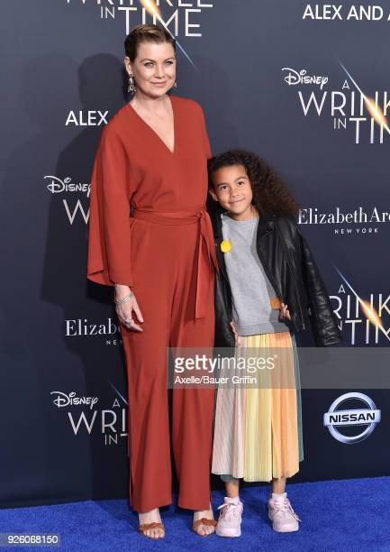 Actress Ellen Pompeo and daughter Stella Ivery arrive at the premiere of Disney's 'A Wrinkle In Time' at El Capitan Theatre on February 26 2018 in...