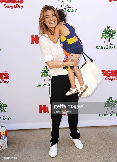 Actress Ellen Pompeo and daughter Stella Ivery attend the Baby2Baby Mother's Day garden party on April 27 2013 in Los Angeles California