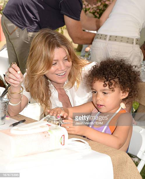 Actress Ellen Pompeo and daughter Stella Ivery attend the Huggies Snug Dry and Baby2Baby Mother's Day Garden Party held on April 27 2013 in Los...