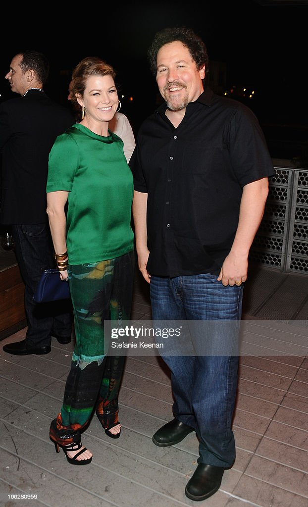 Actress Ellen Pompeo and director/actor Jon Favreau attend Coach's 3rd Annual Evening of Cocktails and Shopping to Benefit the Children's Defense Fund hosted by Katie McGrath, J.J. Abrams and Bryan Burk at Bad Robot on April 10, 2013 in Santa Monica, California.