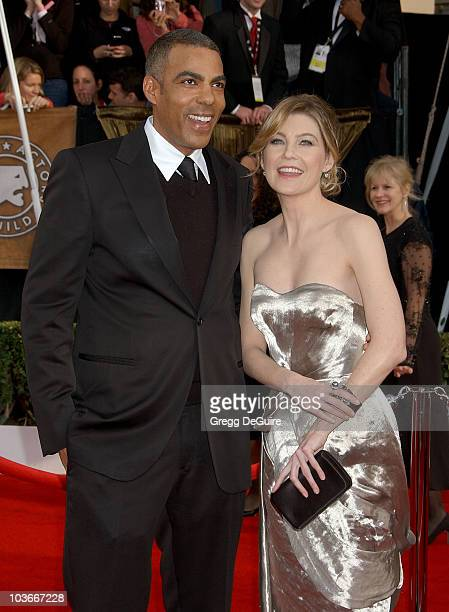 Actress Ellen Pompeo and husband Chris Ivery arrive at the 14th Annual Screen Actors Guild Awards at the Shrine Auditorium on January 27 2008 in Los...