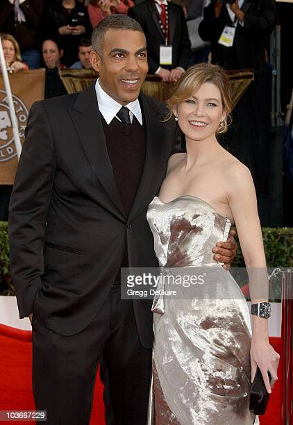 Actress Ellen Pompeo and husband Chris Ivery arrive at the 14th Annual Screen Actors Guild Awards at the Shrine Auditorium on January 27, 2008 in Los...