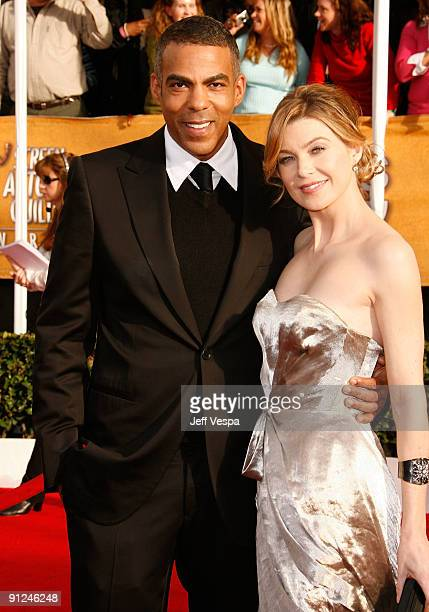 Actress Ellen Pompeo and husband Chris Ivery arrive to the 14th Annual Screen Actors Guild Awards at the Shrine Auditorium on January 27 2008 in Los...