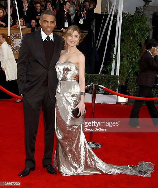 Actress Ellen Pompeo and husband Chris Ivery arrives at the 14th Annual Screen Actors Guild Awards at the Shrine Auditorium on January 27 2008 in Los...