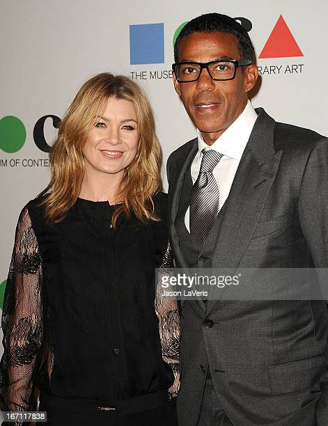 Actress Ellen Pompeo and husband Chris Ivery attend the 2013 MOCA Gala at MOCA Grand Avenue on April 20 2013 in Los Angeles California
