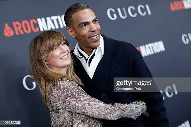 Actress Ellen Pompeo and husband producer Chris Ivery arrive at the Gucci and RocNation PreGRAMMY brunch held at Soho House on February 12 2011 in...