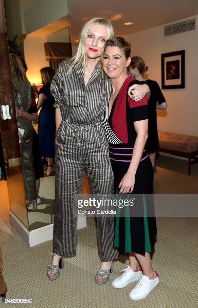 Actress Ellen Pompeo and InStyle Editor in Chief Laura Brown attend InStyle and Brahmin's Badass Women Dinner hosted by Laura Dern on April 14 2018...