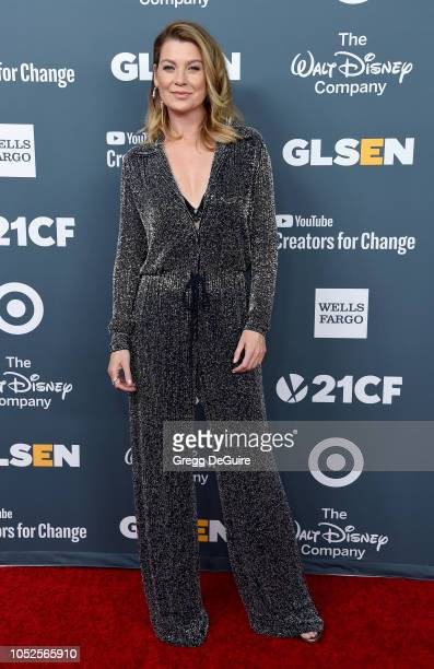 Actress Ellen Pompeo arrives at the GLSEN Respect Awards at the Beverly Wilshire Four Seasons Hotel on October 19, 2018 in Beverly Hills, California.