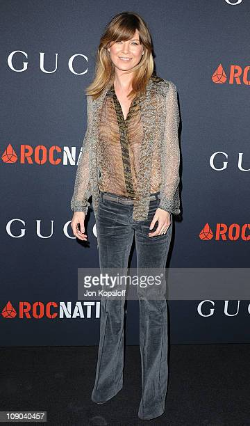 Actress Ellen Pompeo arrives at the Gucci And RocNation Host PreGrammy Brunch At Soho House at Soho House on February 12 2011 in West Hollywood...