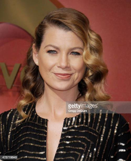 Actress Ellen Pompeo arrives at the QVC 5th Annual Red Carpet Style event at The Four Seasons Hotel on February 28 2014 in Beverly Hills California