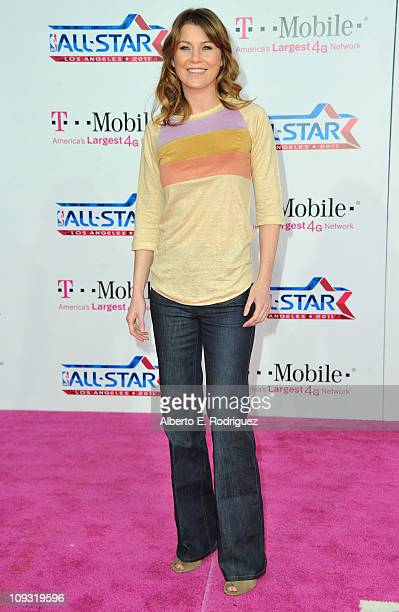 Actress Ellen Pompeo arrives to the TMobile Magenta Carpet at the 2011 NBA AllStar Game on February 20 2011 in Los Angeles California