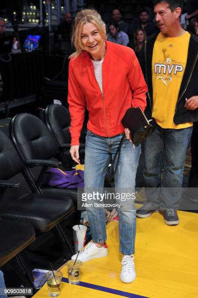 Actress Ellen Pompeo attends a basketball game between the Los Angeles Lakers and the Boston Celtics at Staples Center on January 23 2018 in Los...