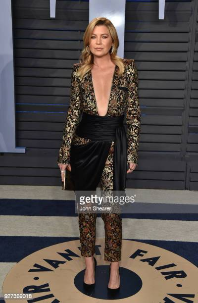 Actress Ellen Pompeo attends the 2018 Vanity Fair Oscar Party hosted by Radhika Jones at Wallis Annenberg Center for the Performing Arts on March 4...