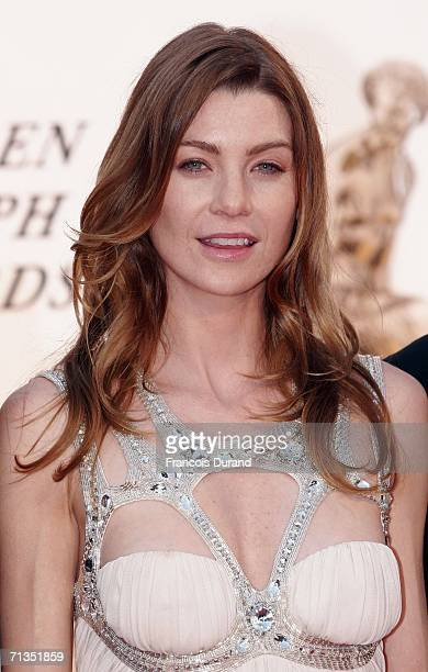 US actress Ellen Pompeo poses on the red carpet before the closing ceremony of the 46th annual Monte Carlo Television Festival at the Forum Grimaldi...
