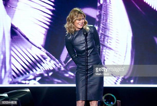 Actress Ellen Pompeo speaks onstage during the 2016 TV Land Icon Awards at The Barker Hanger on April 10 2016 in Santa Monica California