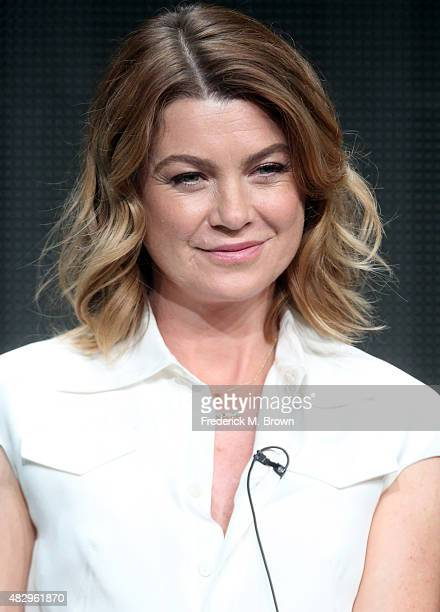 Actress Ellen Pompeo speaks onstage during the 'Grey's Anatomy' 'Scandal' and 'How To Get Away With Murder' panel discussion at the ABC Entertainment...