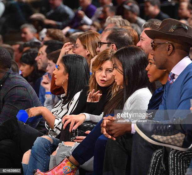 Actress Ellen Pompeo watches the New York Knicks against the Atlanta Hawks at Madison Square Garden on November 20 2016 in New YorkNew York NOTE TO...