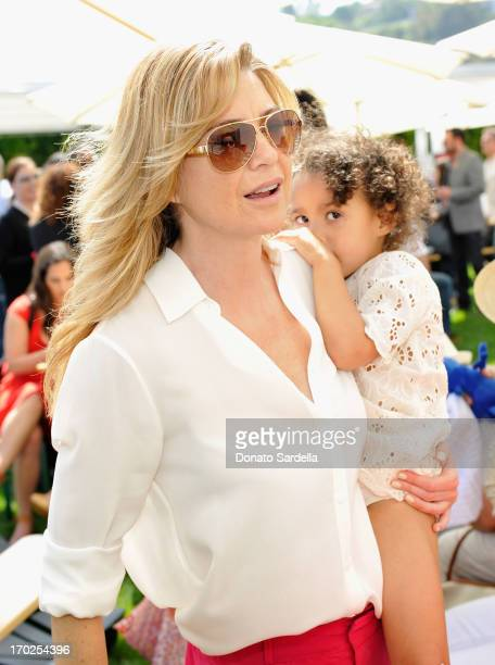Actress Ellen Pompeo with daughter Stella Ivery attend the 1st Annual Children Mending Hearts Style Sunday on June 9 2013 in Beverly Hills California