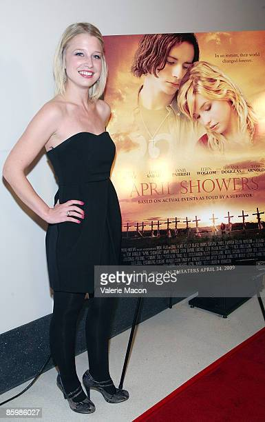 "Actress Ellen Woglom arrives at the premiere of ""April Showers"" on April 14, 2009 in Los Angeles, California."
