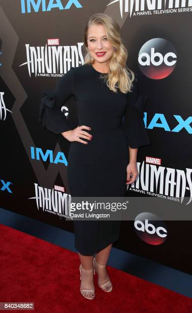 "Actress Ellen Woglom attends the premiere of ABC and Marvel's ""Inhumans"" at Universal CityWalk on August 28, 2017 in Universal City, California."