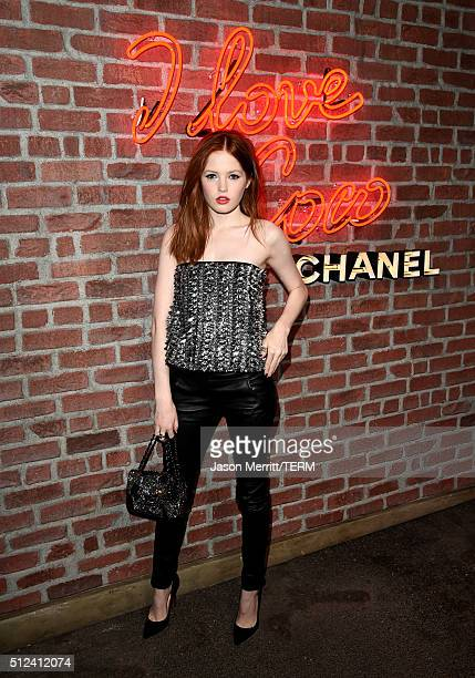 Actress Ellie Bamber attends the I Love Coco Backstage Beauty Lounge at Chateau Marmont's Bar Marmont on February 25 2016 in Hollywood California