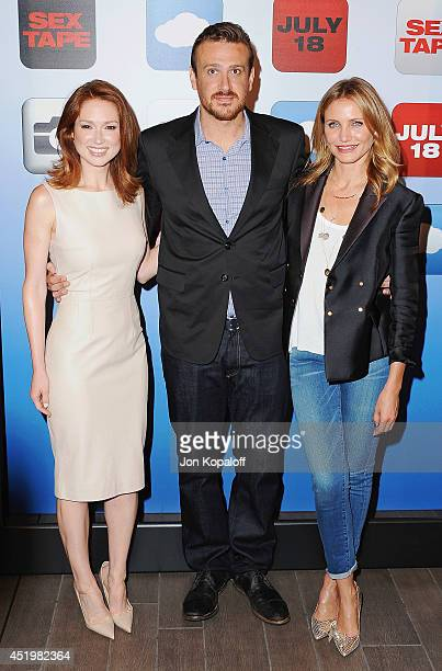 "Actress Ellie Kemper, actor Jason Segel and actress Cameron Diaz attend the ""Sex Tape"" Los Angeles Photo Call at Four Seasons Hotel Los Angeles at..."
