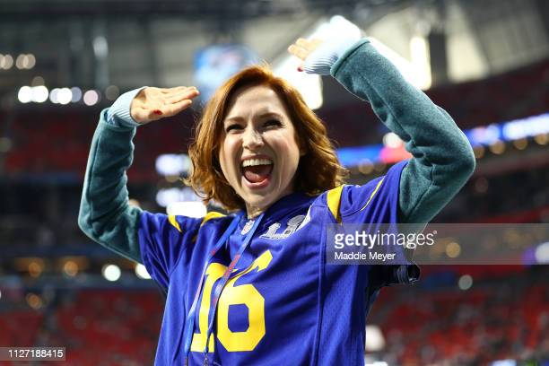 Actress Ellie Kemper attends Super Bowl LIII at Mercedes-Benz Stadium between the Los Angeles Rams and the New England Patriots on February 03, 2019...