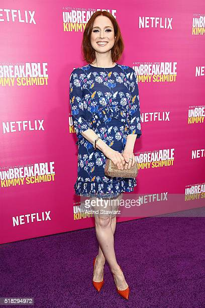 "Actress Ellie Kemper attends the ""Unbreakable Kimmy Schmidt"" Season 2 world premiere at SVA Theatre on March 30, 2016 in New York City."
