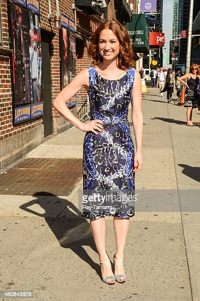 "Actress Ellie Kemper leaves the ""Late Show With David Letterman"" taping at the Ed Sullivan Theater on June 18, 2014 in New York City."