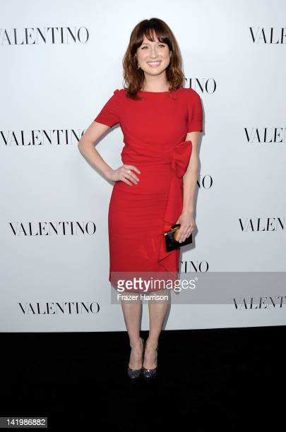 Actress Ellie Kemperarrives at Valentino Rodeo Drive Flagship store opening on March 27 2012 in Beverly Hills California