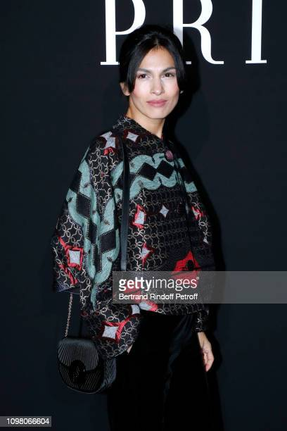 Actress Elodie Yung attends the Giorgio Armani Prive Haute Couture Spring Summer 2019 show as part of Paris Fashion Week on January 22, 2019 in...