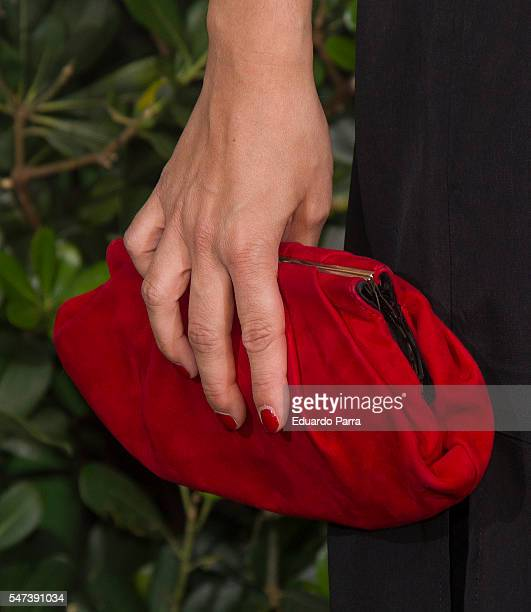 Actress Elsa Herrera bag detail attends the National Geographic Channel 15th Anniversary photocall at the EEUU embassy on July 14 2016 in Madrid Spain