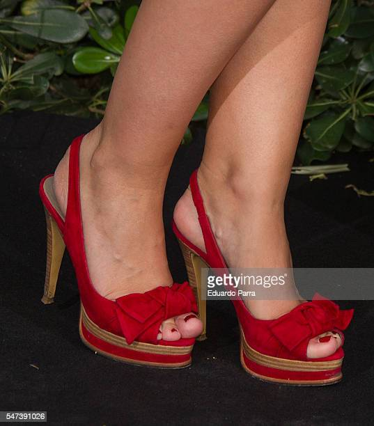 Actress Elsa Herrera shoes detail attends the National Geographic Channel 15th Anniversary photocall at the EEUU embassy on July 14 2016 in Madrid...