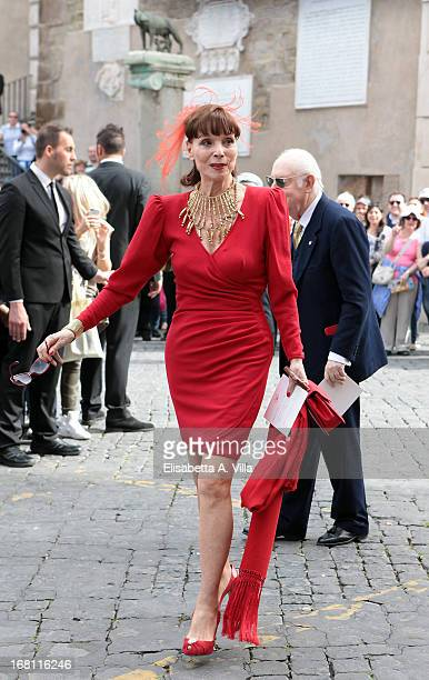 Actress Elsa Martinelli arrives at the Valeria Marini and Giovanni Cottone wedding at Ara Coeli on May 5 2013 in Rome Italy