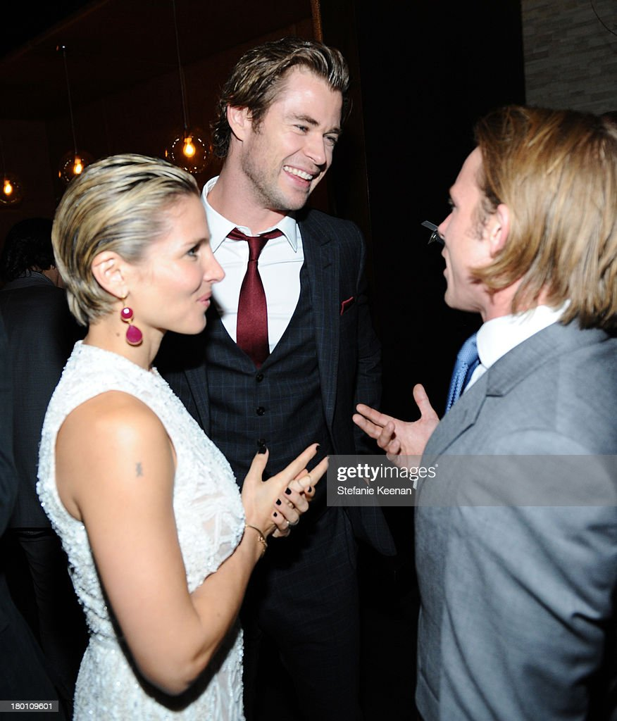 Actress Elsa Pataky, actor Chris Hemsworth and Tom Hunt at the Grey Goose vodka co-hosted party for 'Rush' on September 8, 2013 in Toronto, Canada.