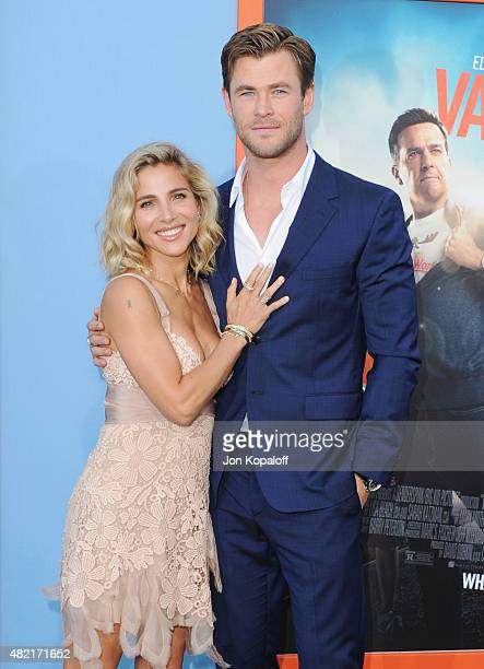 Actress Elsa Pataky and actor Chris Hemsworth arrive at the Los Angeles Premiere Vacation at Regency Village Theatre on July 27 2015 in Westwood...
