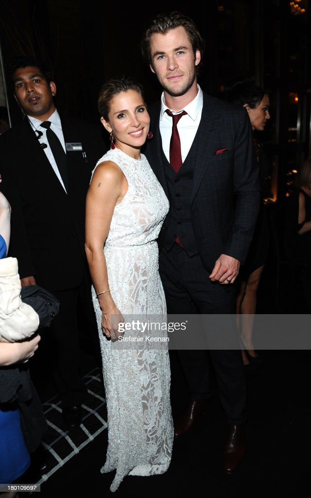 Actress Elsa Pataky (L) and actor Chris Hemsworth at the Grey Goose vodka co-hosted party for 'Rush' on September 8, 2013 in Toronto, Canada.